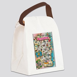 wisconsin map Canvas Lunch Bag