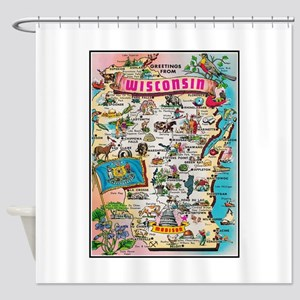 Wisconsin Map Shower Curtain