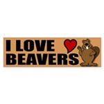 I Love Beavers Bumper Sticker
