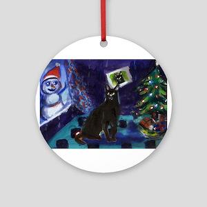 Black cat snowman xmas Ornament (Round)