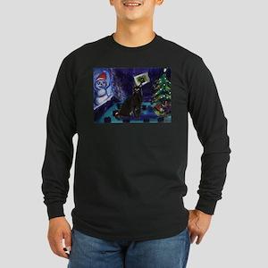 Black cat snowman xmas Long Sleeve Dark T-Shirt