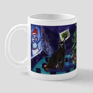 Black cat snowman xmas Mug