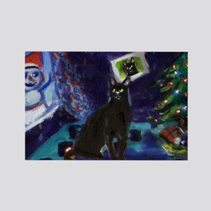 Black cat snowman xmas Rectangle Magnet