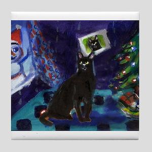 Black cat snowman xmas Tile Coaster