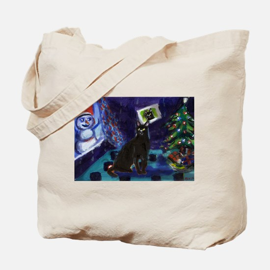 Black cat snowman xmas Tote Bag