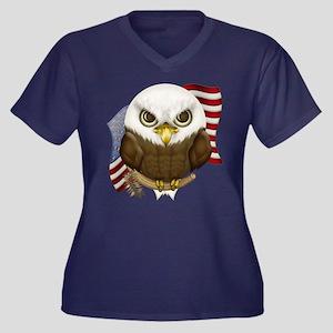 Cute Bald Eagle Women's Plus Size V-Neck Dark T-Sh
