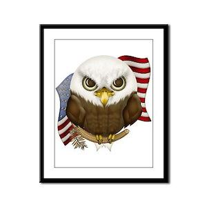 Cute Bald Eagle Framed Panel Print