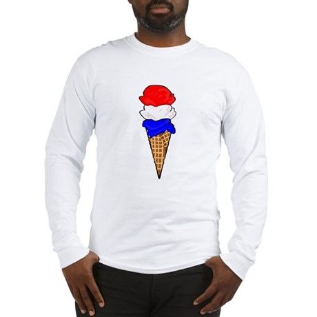 Red White and Blue Ice Cream Long Sleeve T-Shirt