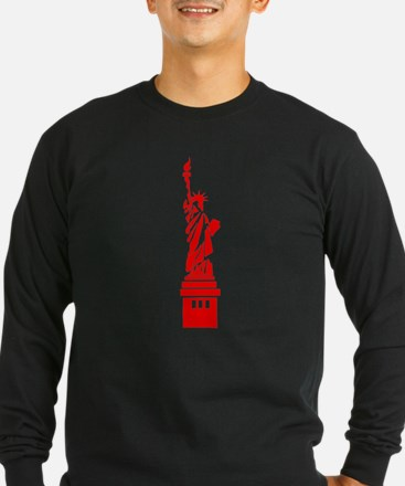 Red Statue of Liberty Long Sleeve T-Shirt