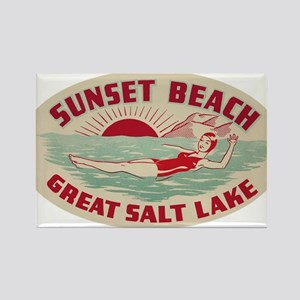 Sunset Beach Salt Lake Rectangle Magnet