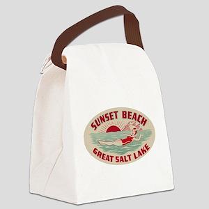 Sunset Beach Salt Lake Canvas Lunch Bag