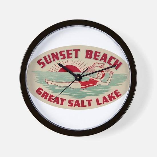 Sunset Beach Salt Lake Wall Clock