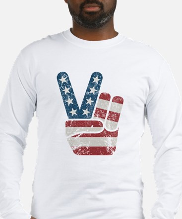 Peace Sign USA Vintage Long Sleeve T-Shirt