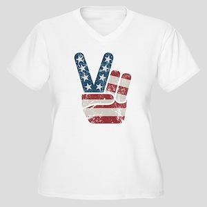 Peace Sign USA Vintage Women's Plus Size V-Neck T-