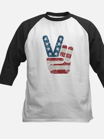 Peace Sign USA Vintage Kids Baseball Jersey