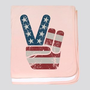 Peace Sign USA Vintage baby blanket