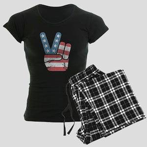 Peace Sign USA Vintage Women's Dark Pajamas