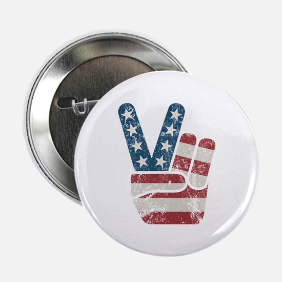 """Peace Sign USA Vintage 2.25"""" Button (100 pack)"""