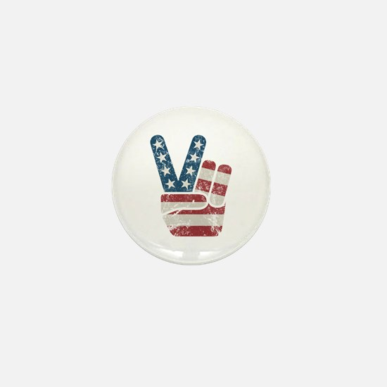 Peace Sign USA Vintage Mini Button