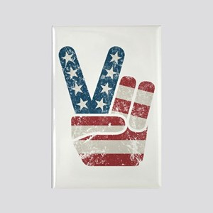Peace Sign USA Vintage Rectangle Magnet