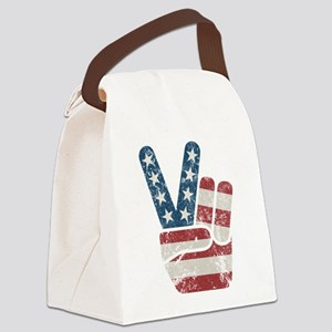 Peace Sign USA Vintage Canvas Lunch Bag
