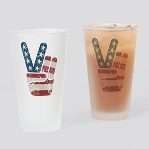 Peace Sign USA Vintage Drinking Glass