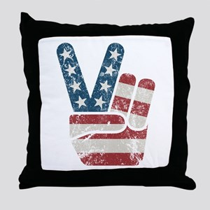 Peace Sign USA Vintage Throw Pillow