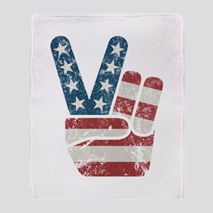 Peace Sign USA Vintage Throw Blanket