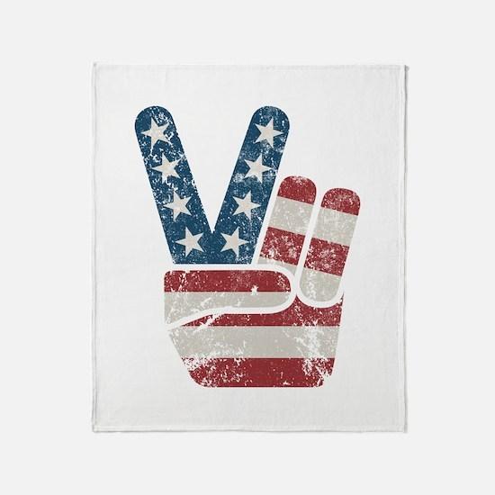 Peace Sign USA Vintage Throw Blanket