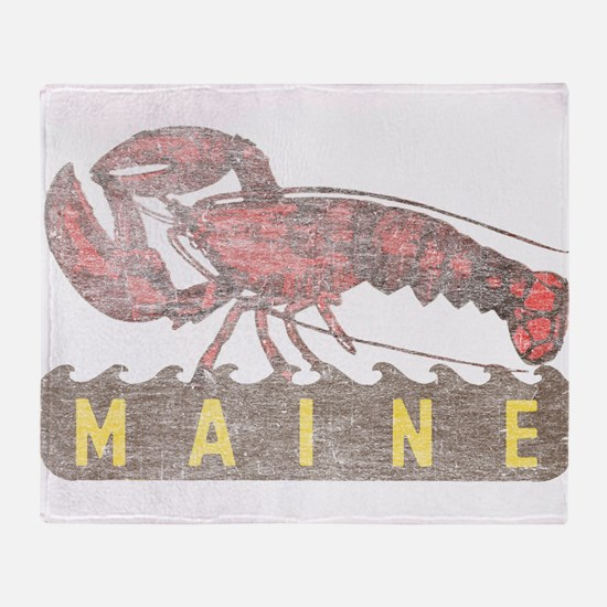 Vintage Maine Lobster Throw Blanket