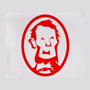 Red Abraham Lincoln Portrait Throw Blanket