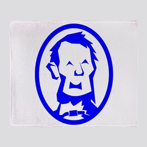Blue Abraham Lincoln Portrait Throw Blanket