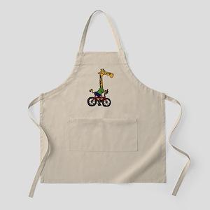 Giraffe Riding Bicycle Cartoon Apron