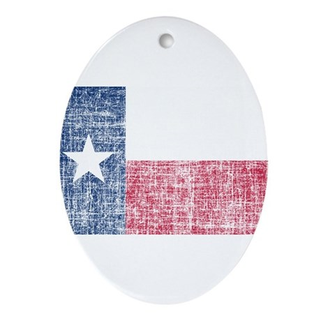 Distressed Texas Flag Ornament (Oval)