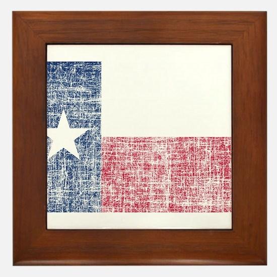 Distressed Texas Flag Framed Tile