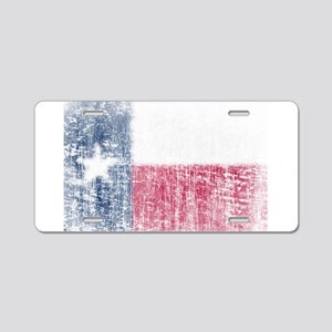 Beaten Texas Flag Aluminum License Plate