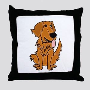 Funky Golden Retriever Cartoon Throw Pillow