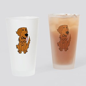Funky Golden Retriever Cartoon Drinking Glass