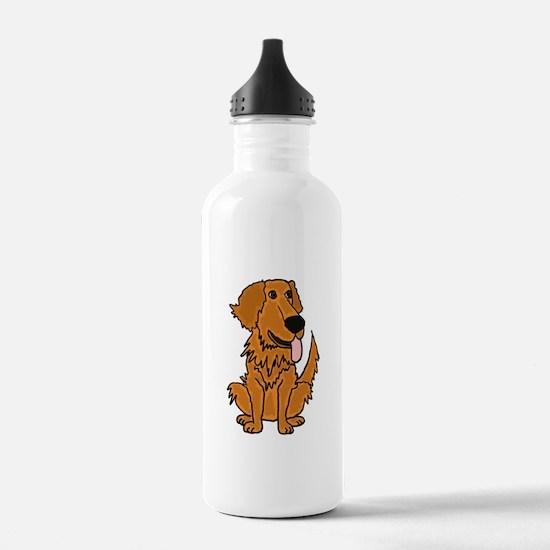 Funky Golden Retriever Cartoon Water Bottle