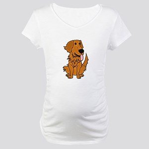 Funky Golden Retriever Cartoon Maternity T-Shirt