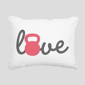 Love Kettlebell in Pink Rectangular Canvas Pillow