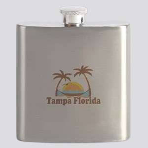 Tampa Florida - Palm Trees Design. Flask