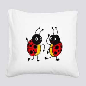 Funny Ladybugs Dancing Square Canvas Pillow