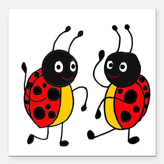 """Funny Ladybugs Dancing Square Car Magnet 3"""" x 3"""""""