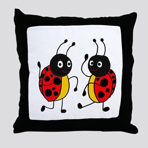 Funny Ladybugs Dancing Throw Pillow