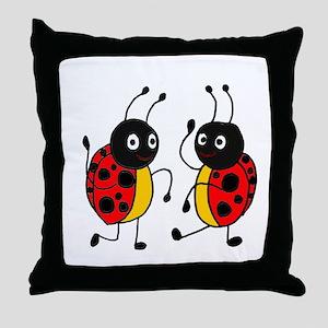 Funny Ladybugs Dancing Throw Pillow