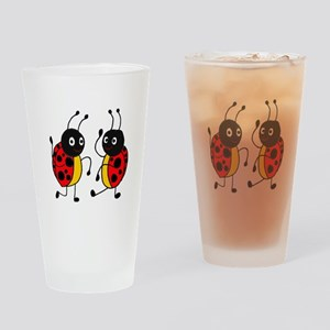Funny Ladybugs Dancing Drinking Glass