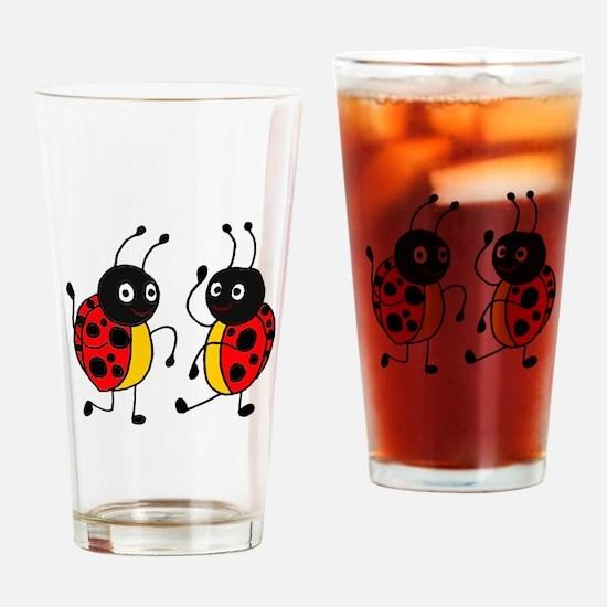 Funny Ladybugs Dancing Drinking Glass