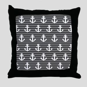 'Gray Anchors' Throw Pillow