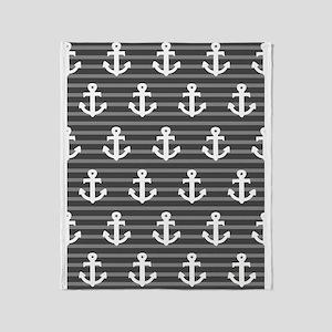 'Gray Anchors' Throw Blanket